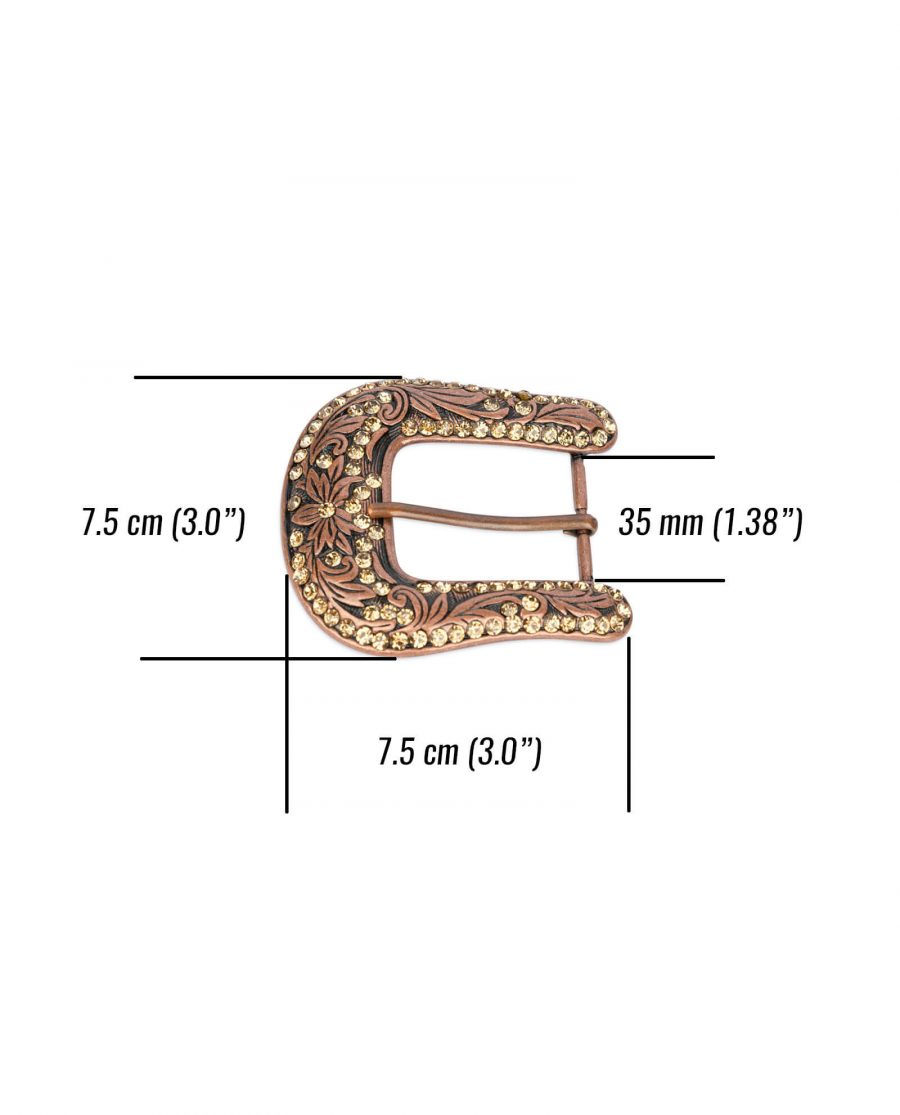 Rhinestone western copper belt buckle WECO35RHIN 2