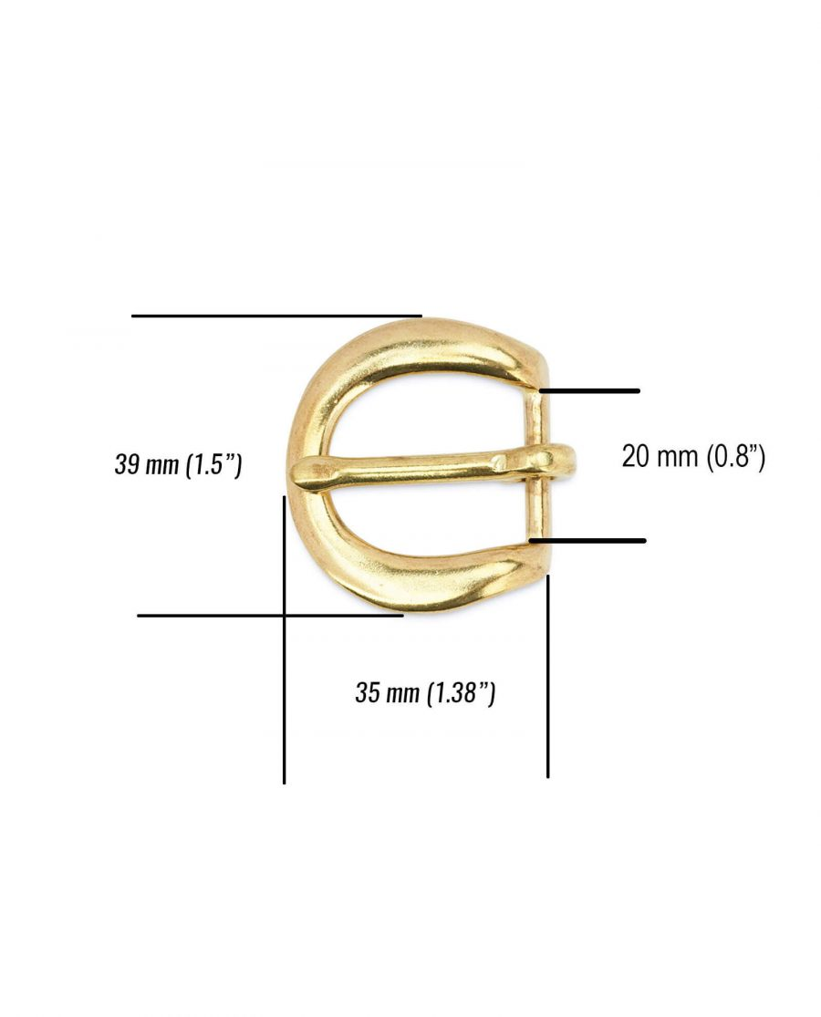 Rounded corner brass belt buckle 20 mm BROV20GDPT 5