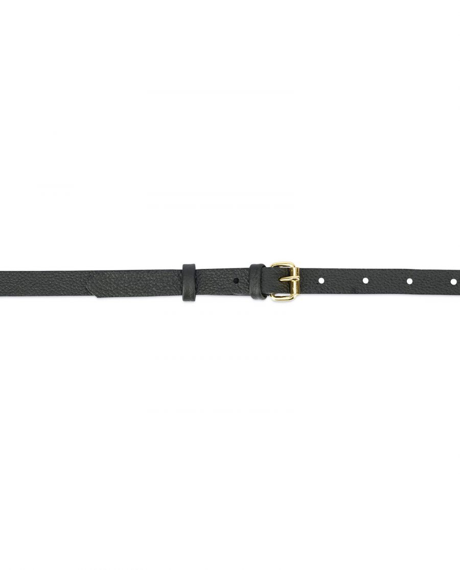 Womens black belt with gold roller buckle ROLL15CWBL 2