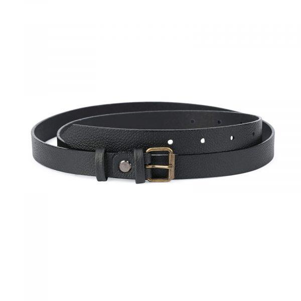 women s belt black with bronze roller buckle 20 mm ROLL20BLCW 1