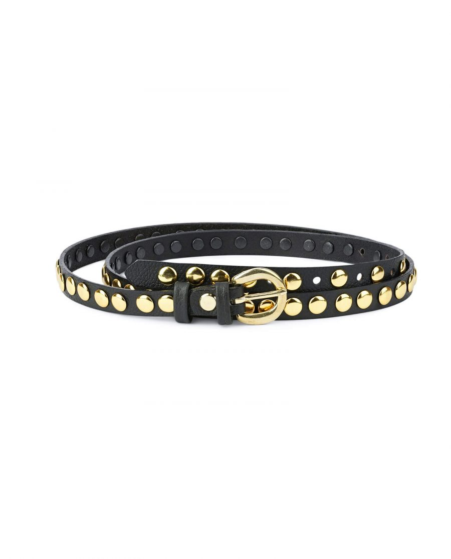 womens black gold studded belt – brass buckle 15 mm SDGO15BRAS 1