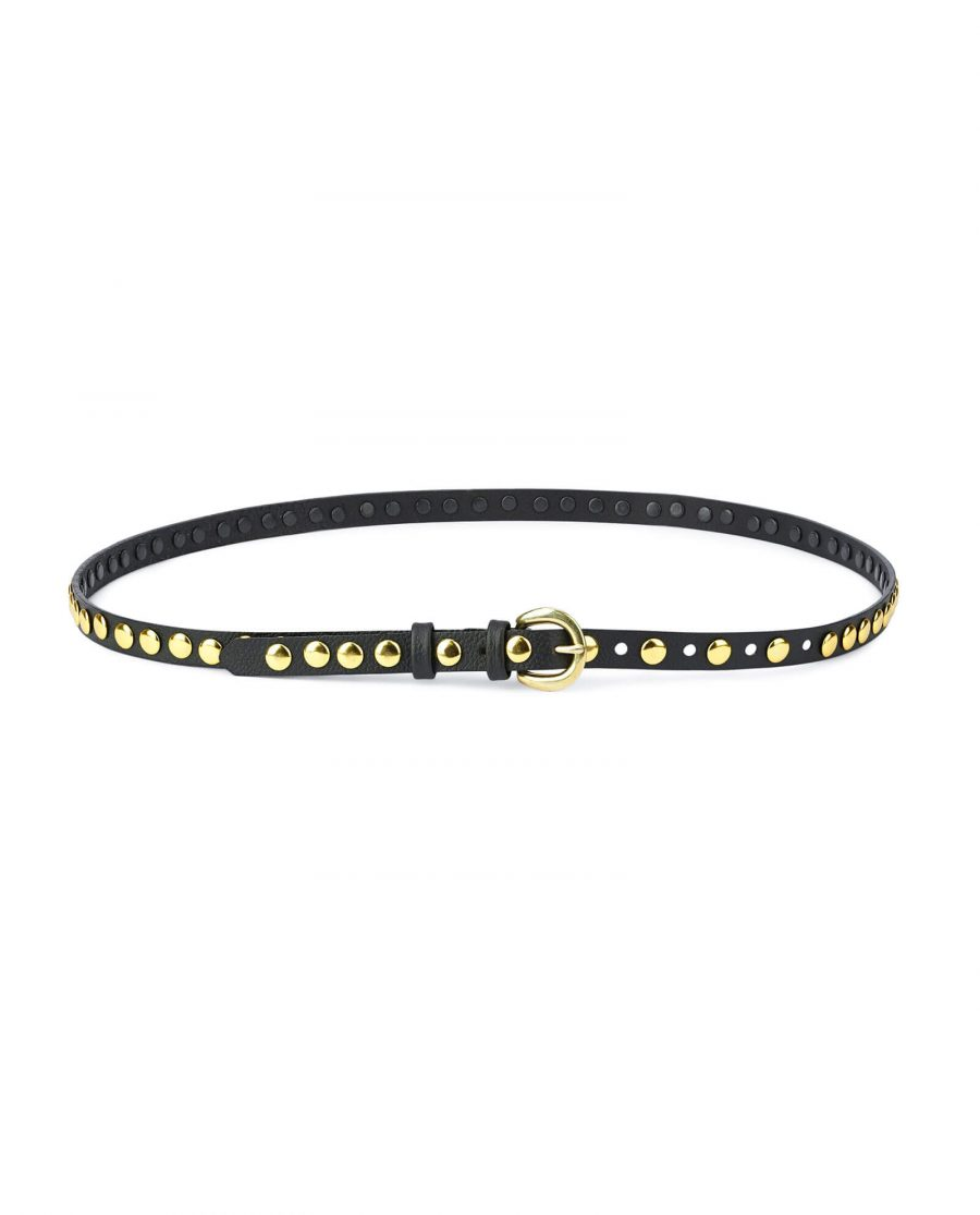 womens black gold studded belt – brass buckle 15 mm SDGO15BRAS 2