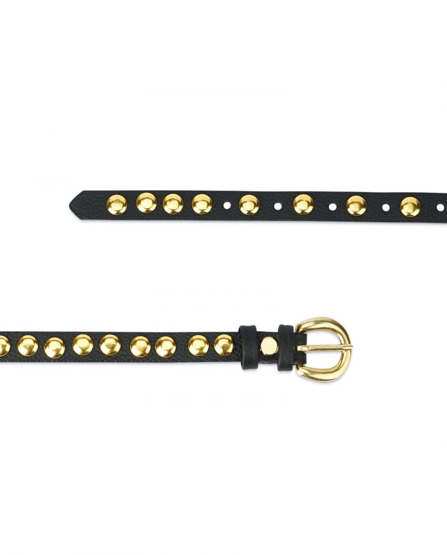 womens black gold studded belt – brass buckle 15 mm SDGO15BRAS 3