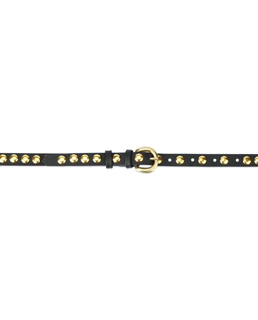 womens black gold studded belt – brass buckle 15 mm SDGO15BRAS 4