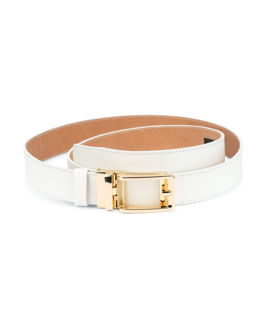 Automatic leather white belt with gold buckle AUWT35GDCL 1