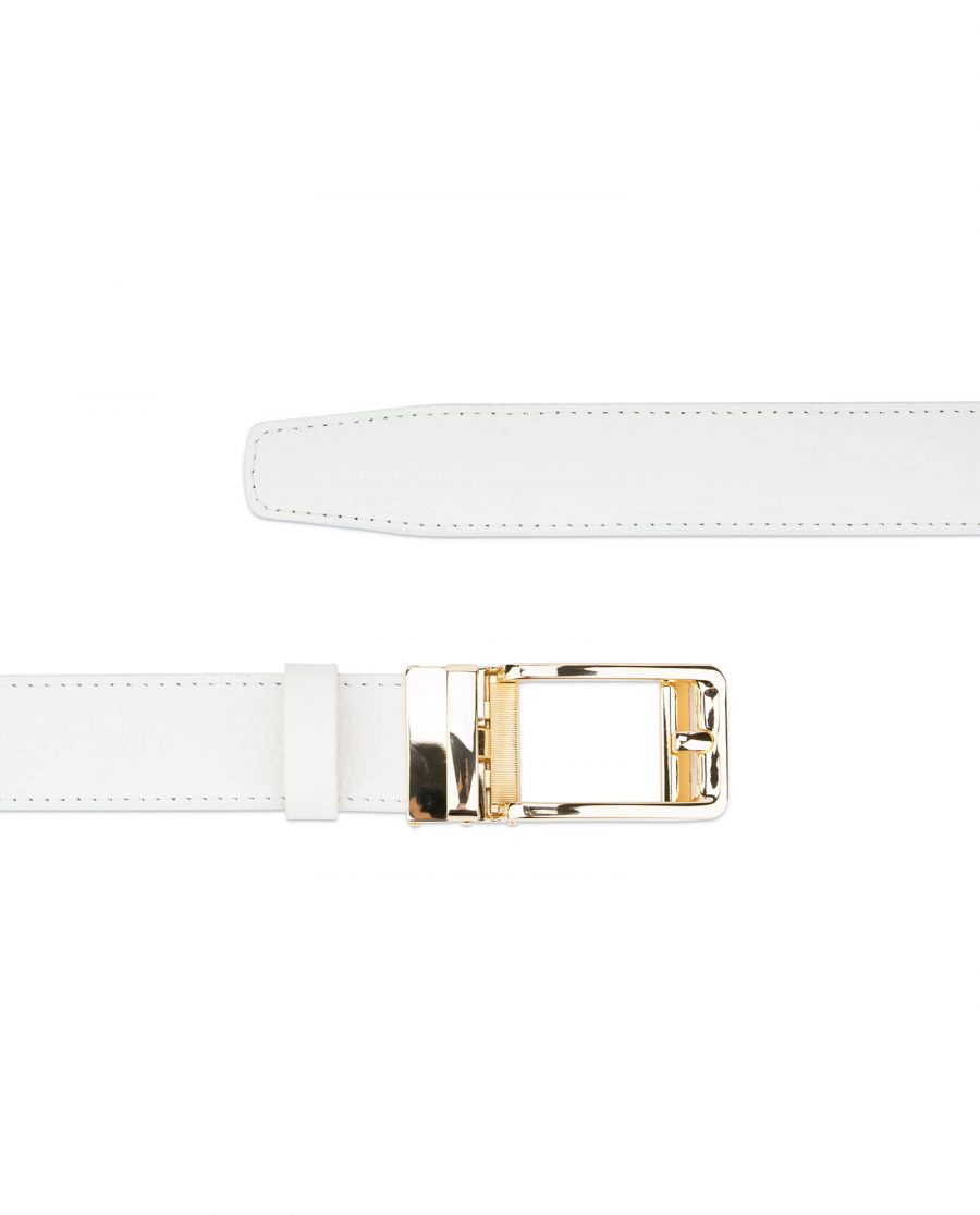 Automatic leather white belt with gold buckle AUWT35GDCL 2