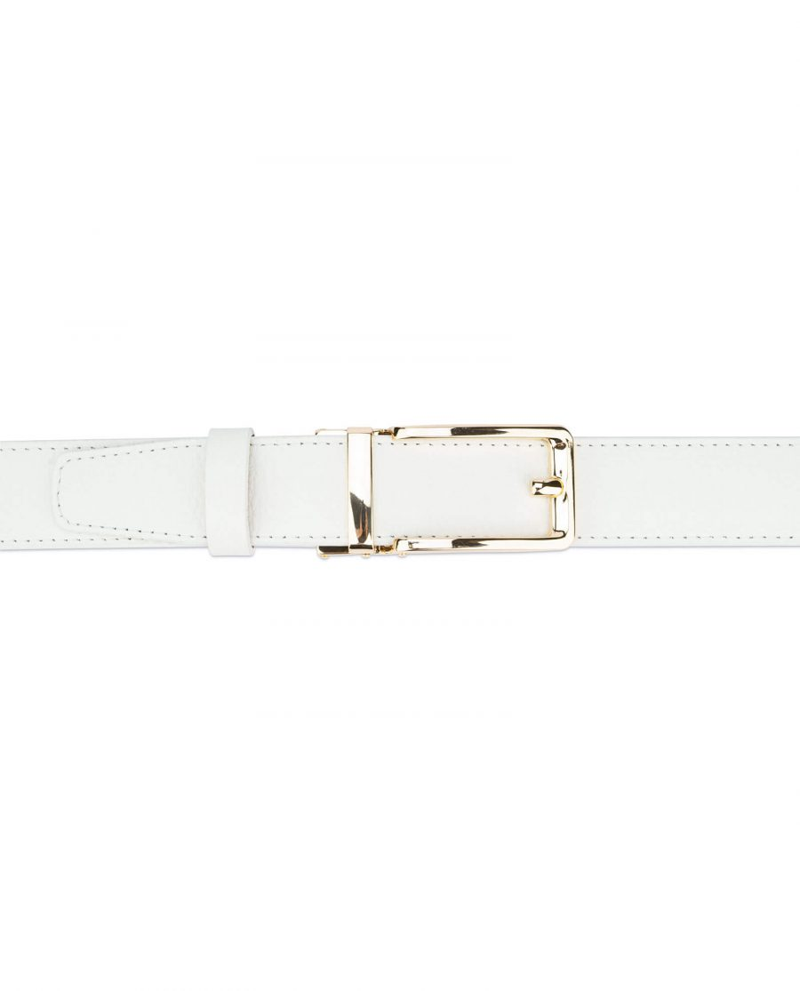 Automatic leather white belt with gold buckle AUWT35GDCL 3