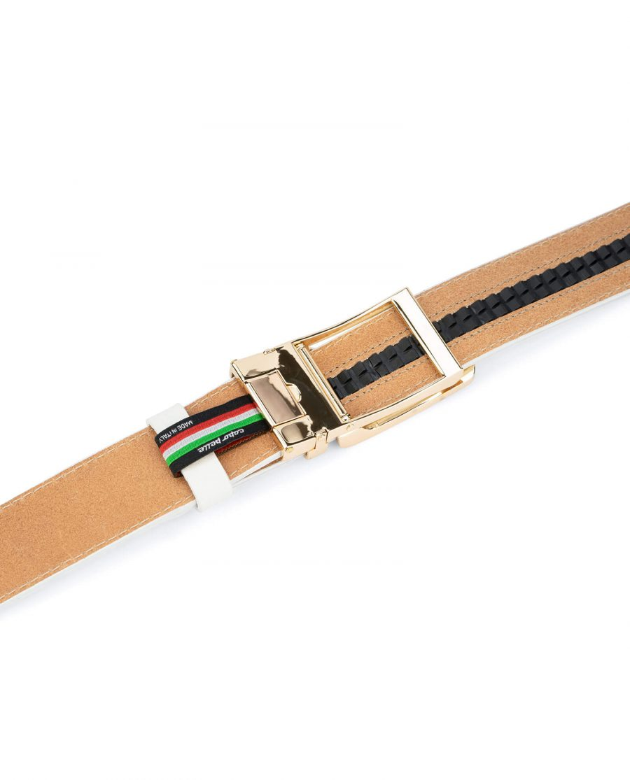 Automatic leather white belt with gold buckle AUWT35GDCL 4