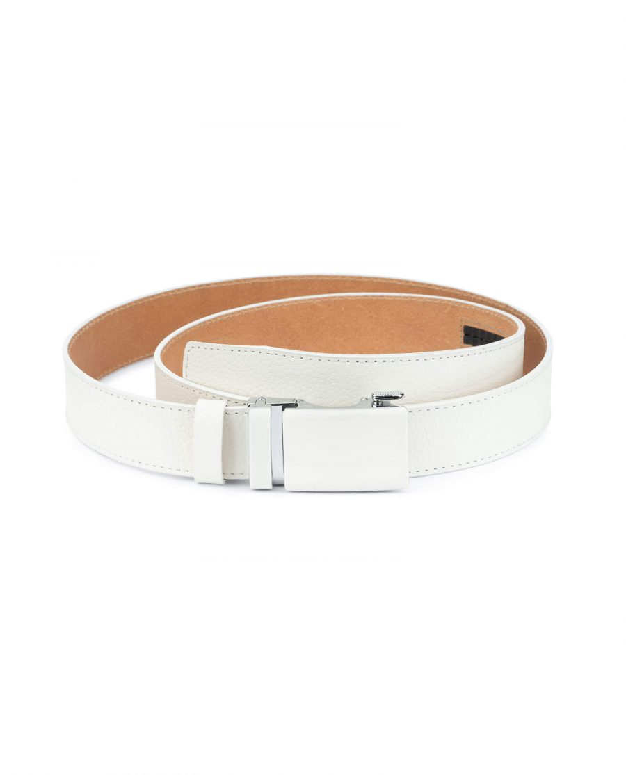 Automatic white buckle belt without holes RTWH35WTBC 1