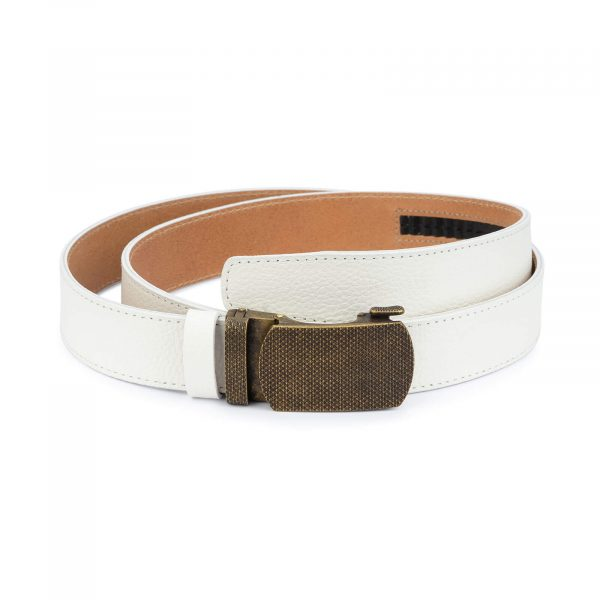 Automatic white leather belt with bronze buckle AUWT35BROZ 1