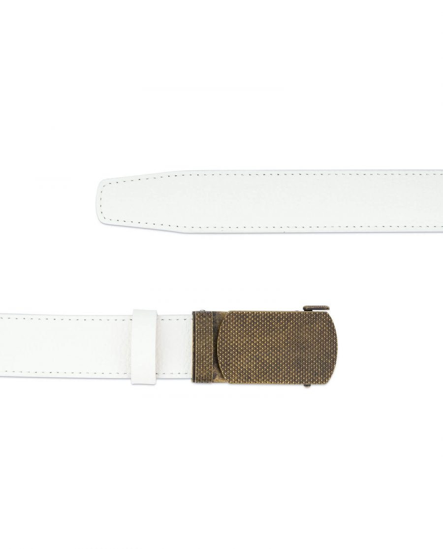 Automatic white leather belt with bronze buckle AUWT35BROZ 2