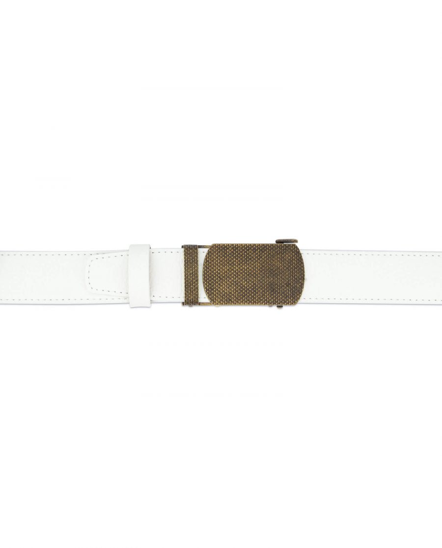 Automatic white leather belt with bronze buckle AUWT35BROZ 3