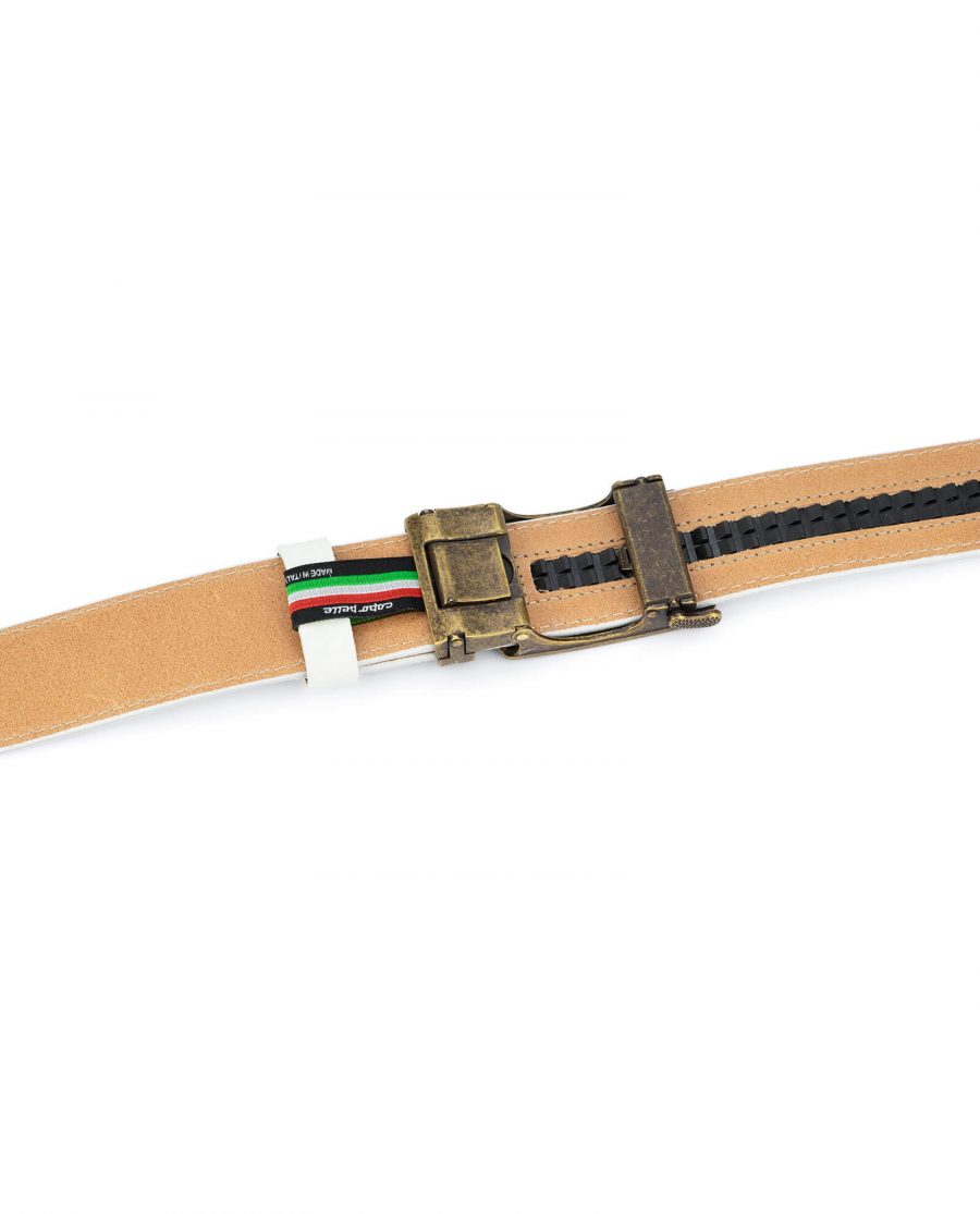 Automatic white leather belt with bronze buckle AUWT35BROZ 4