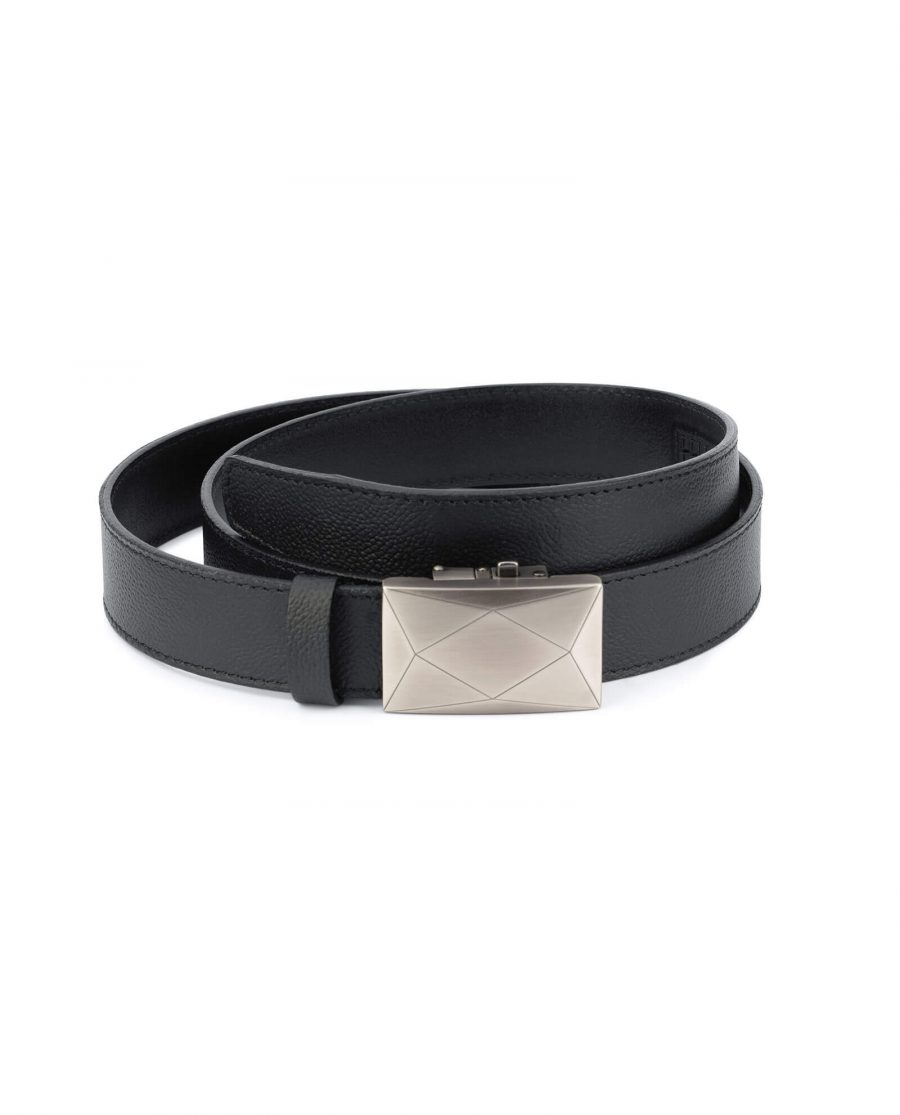 Black automatic buckle belt with gray luxury buckle AUBL35GRRO 1