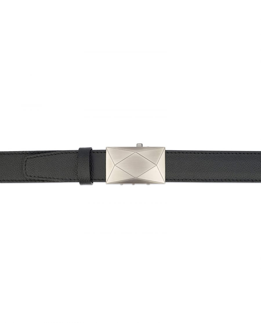 Black automatic buckle belt with gray luxury buckle AUBL35GRRO 3