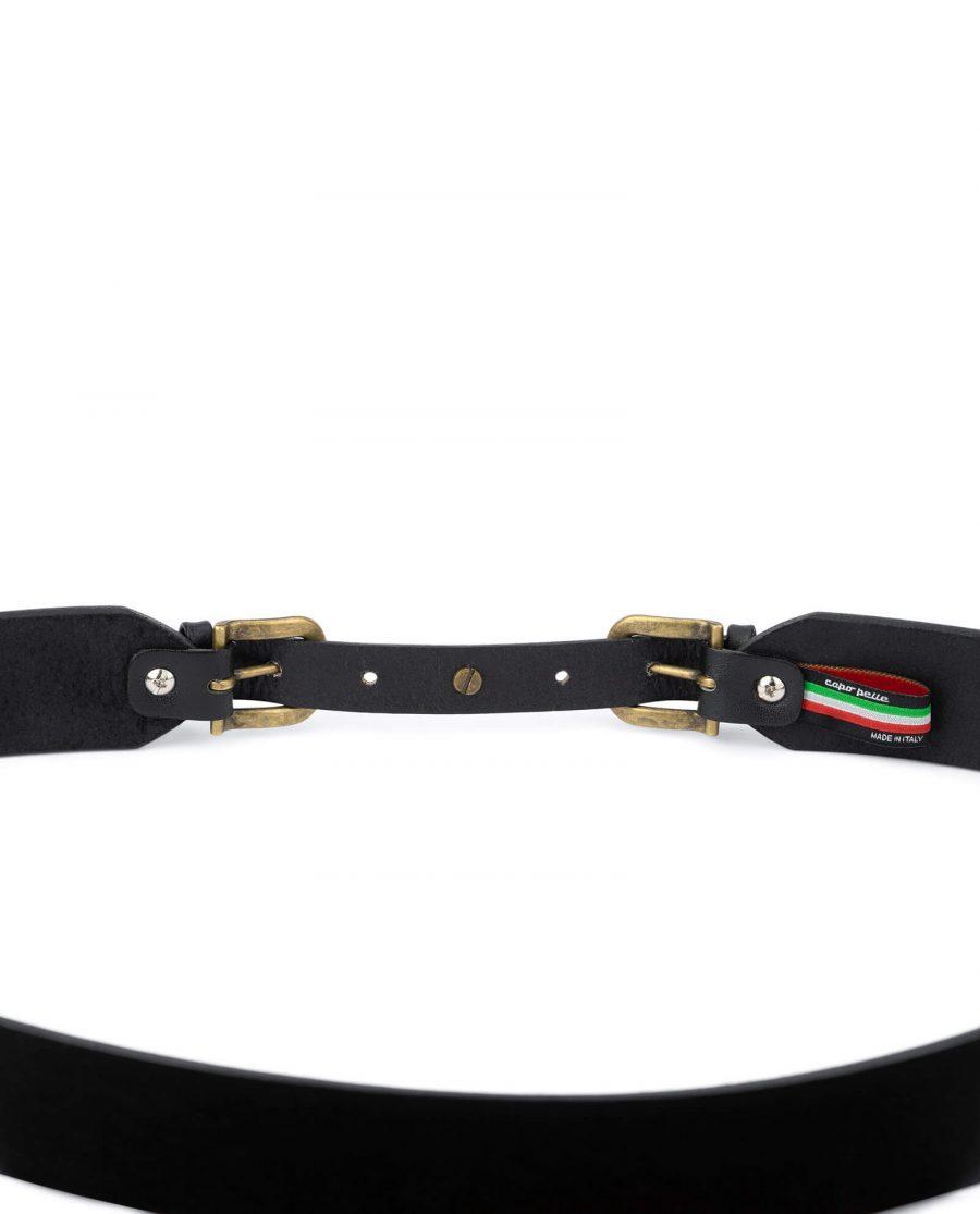 Black double buckle belt womens 40 mm wide DBBZ40STAR 2