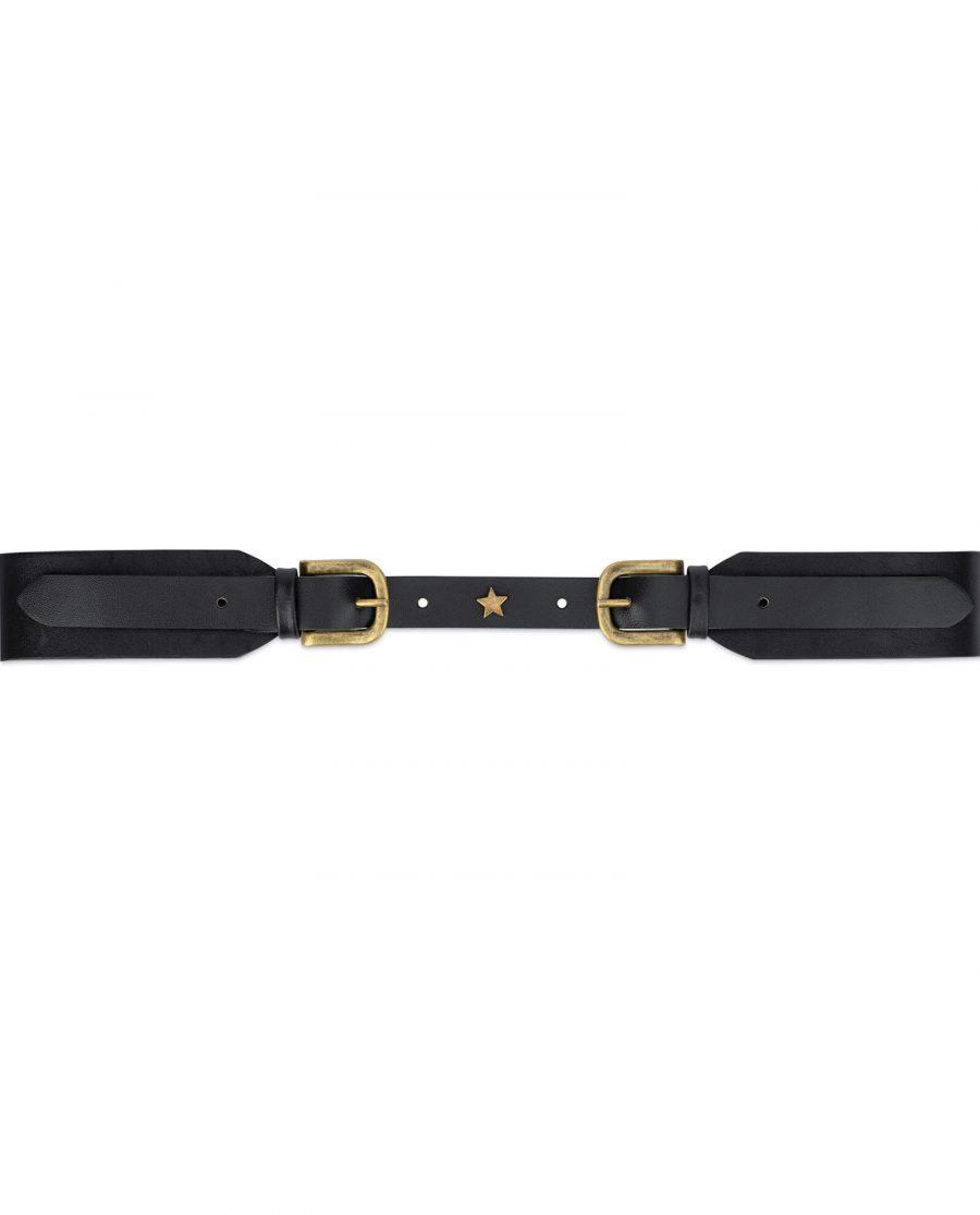 Black double buckle belt womens 40 mm wide DBBZ40STAR 3