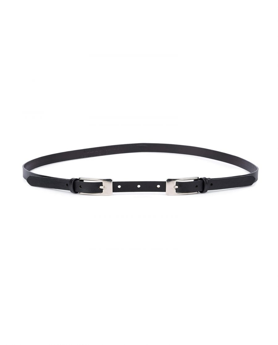 Black leather double buckle belt – thin classic 15 mm DBBL15CLSI 1