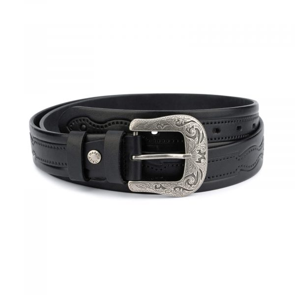 Black tooled western belt – full grain leather TOWE35BLFG 1