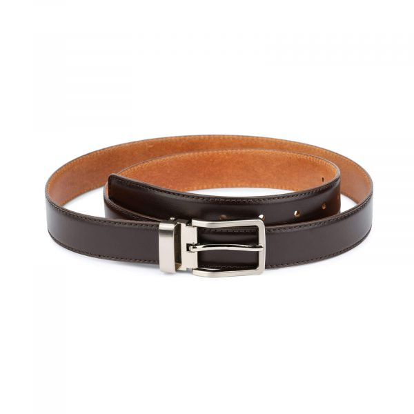 Classic mens dark brown belt – real leather 30 mm 1