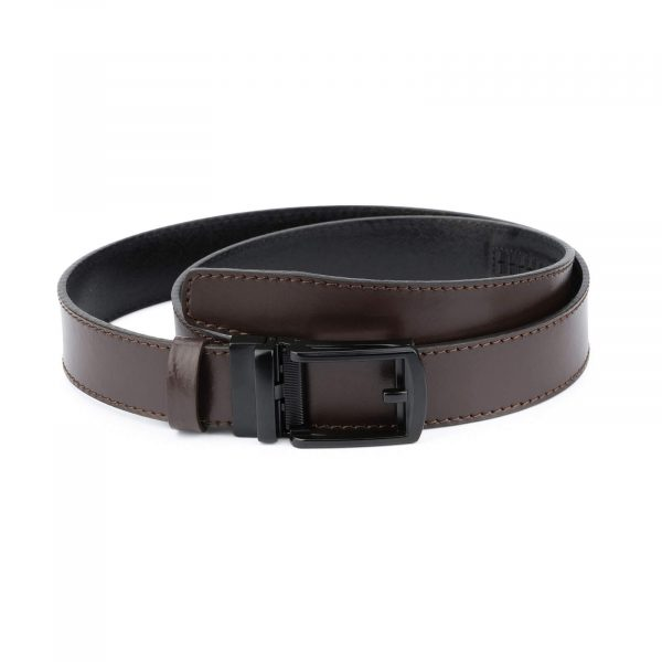 Dark Brown ratchet buckle belt with black classic buckle AUBR35CLBL 1
