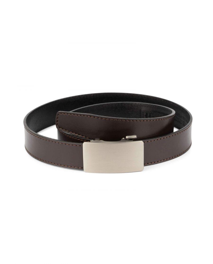 Dark brown ratcheting leather belt AUBR35PLGR 1