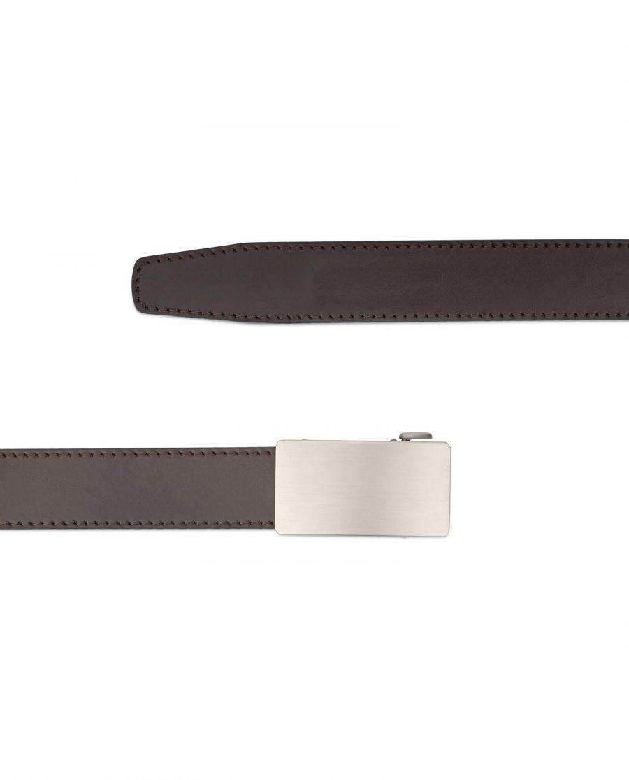 Dark brown ratcheting leather belt AUBR35PLGR 2