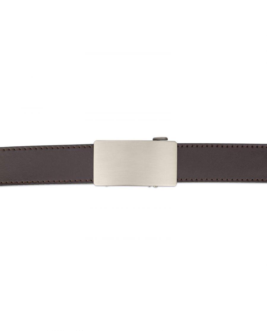 Dark brown ratcheting leather belt AUBR35PLGR 3