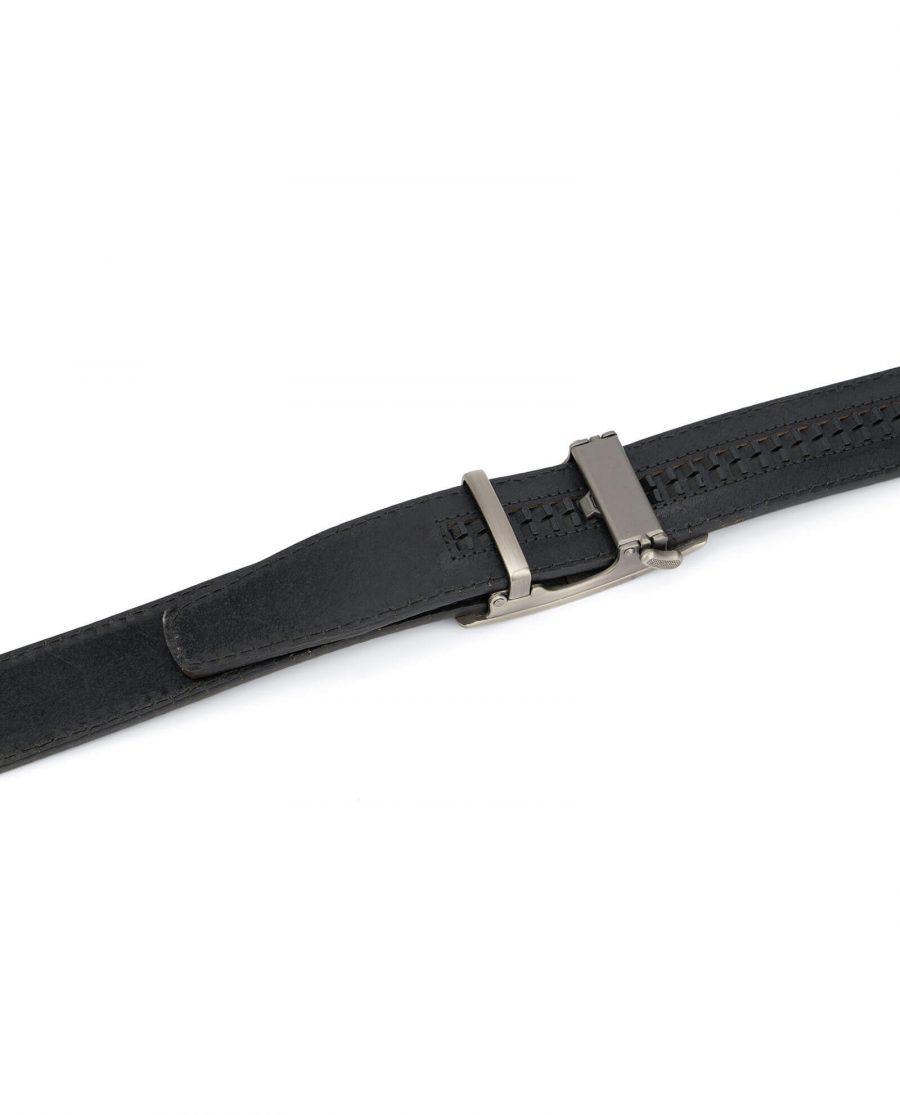 Dark brown ratcheting leather belt AUBR35PLGR 4