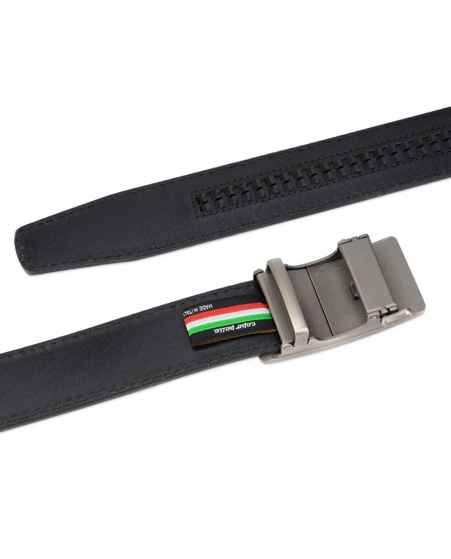 Dark brown ratcheting leather belt AUBR35PLGR 5