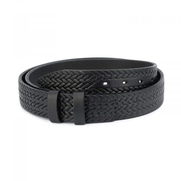 Full grain leather woven belt – black 35 mm FGWV35BLAC 1
