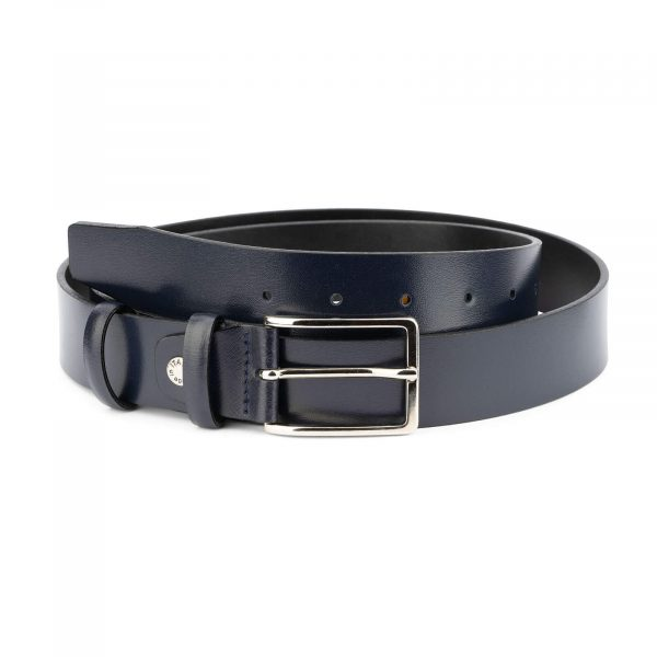 Italian mens blue leather belt – classic buckle CLASS35NVBU 1