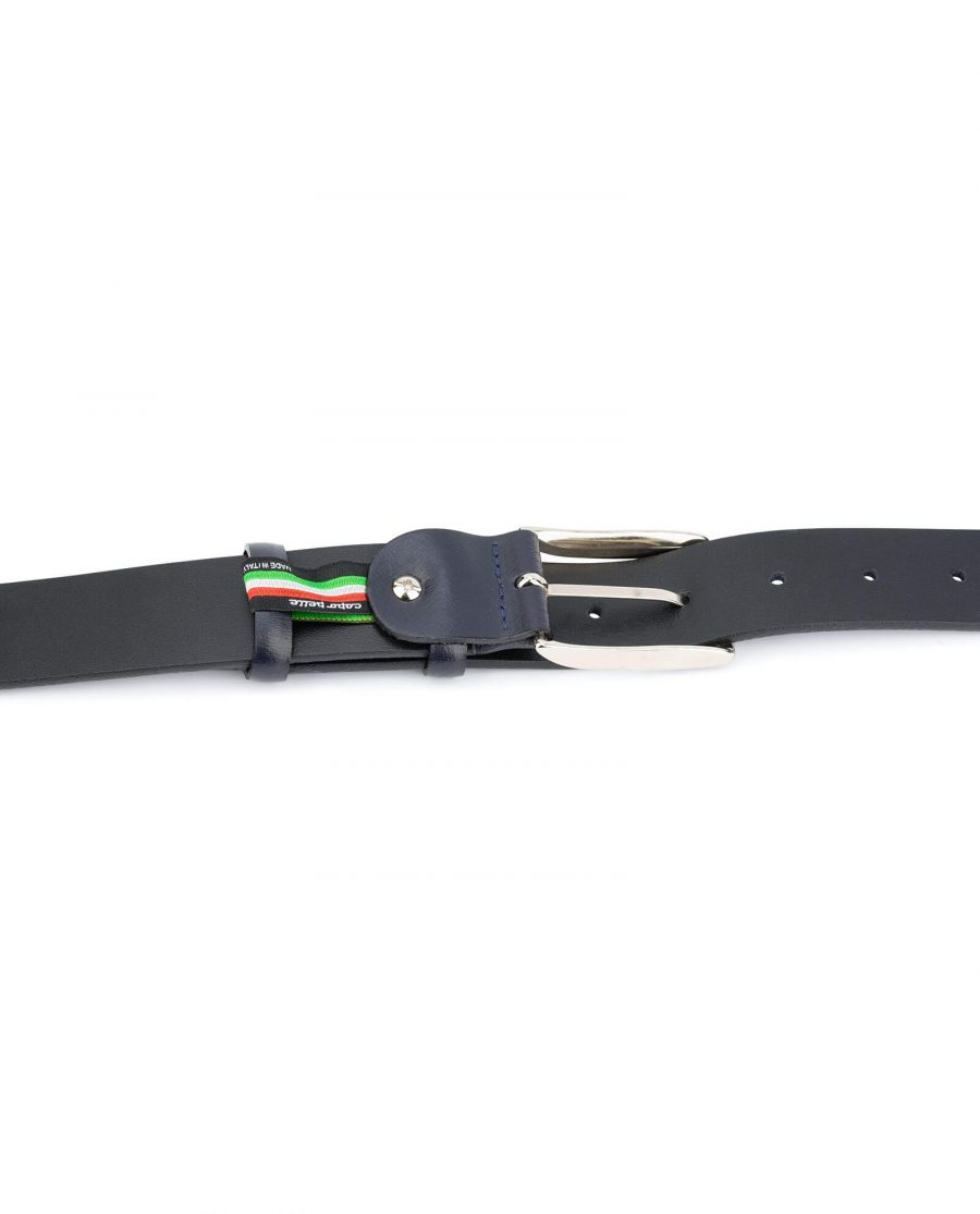 Italian mens blue leather belt – classic buckle CLASS35NVBU 4
