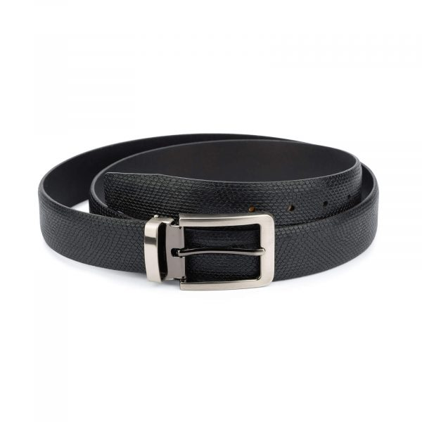 Mens snake print belt – real leather 3 5 cm 1