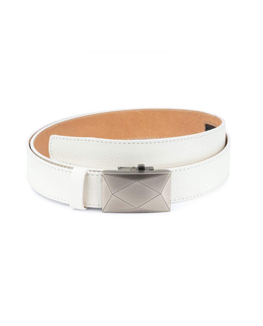 Mens white comfort click belt luxury buckle RTWH35ROGR 1