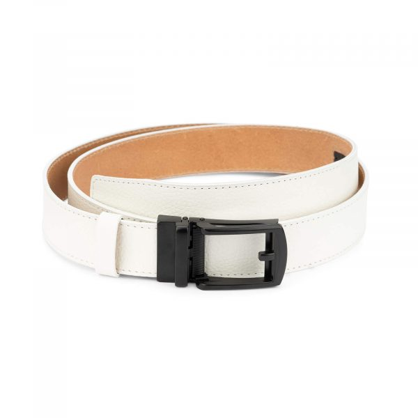 Mens white golf belt ratchet buckle AUWH35BLCL 1