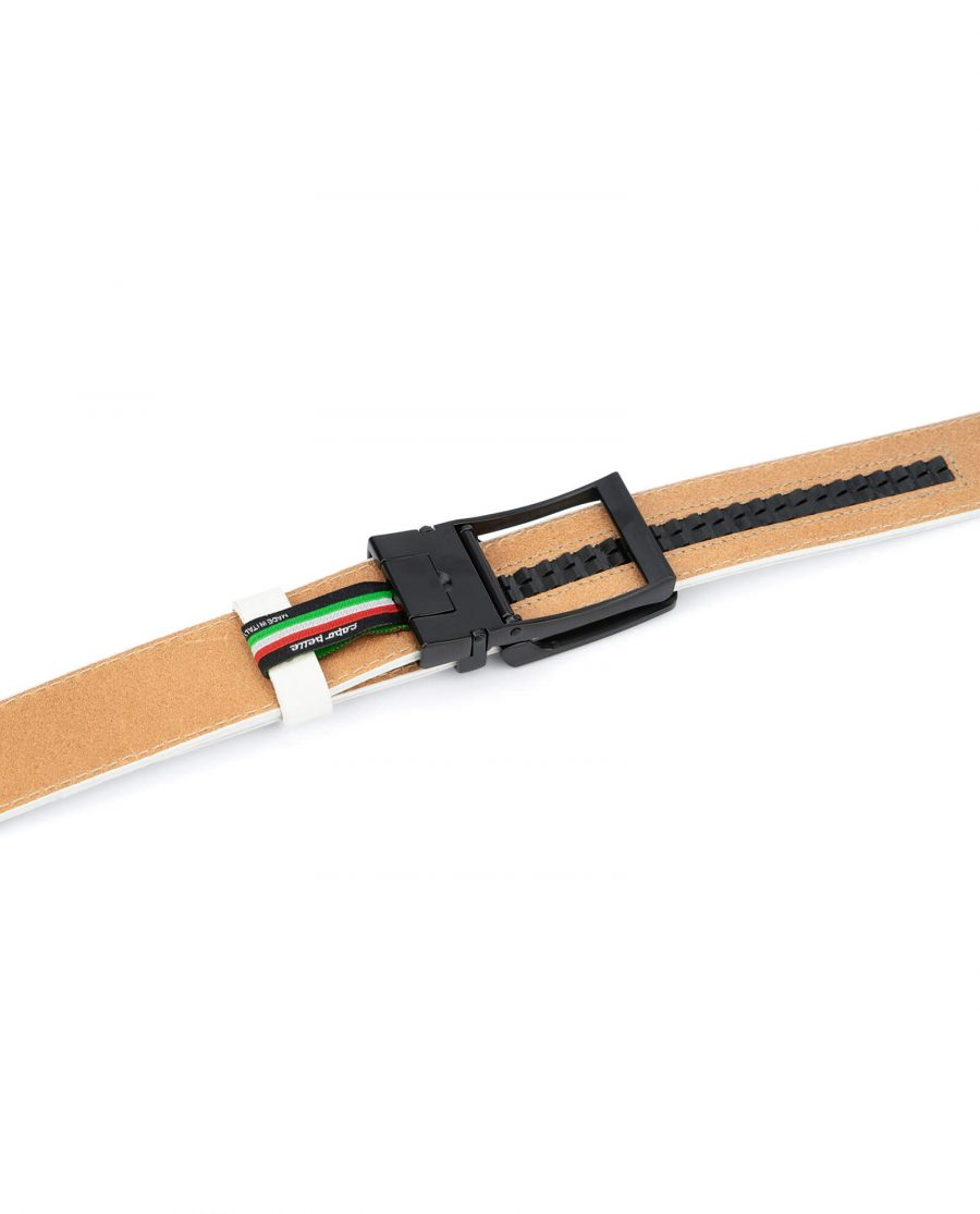 Mens white golf belt ratchet buckle AUWH35BLCL 4