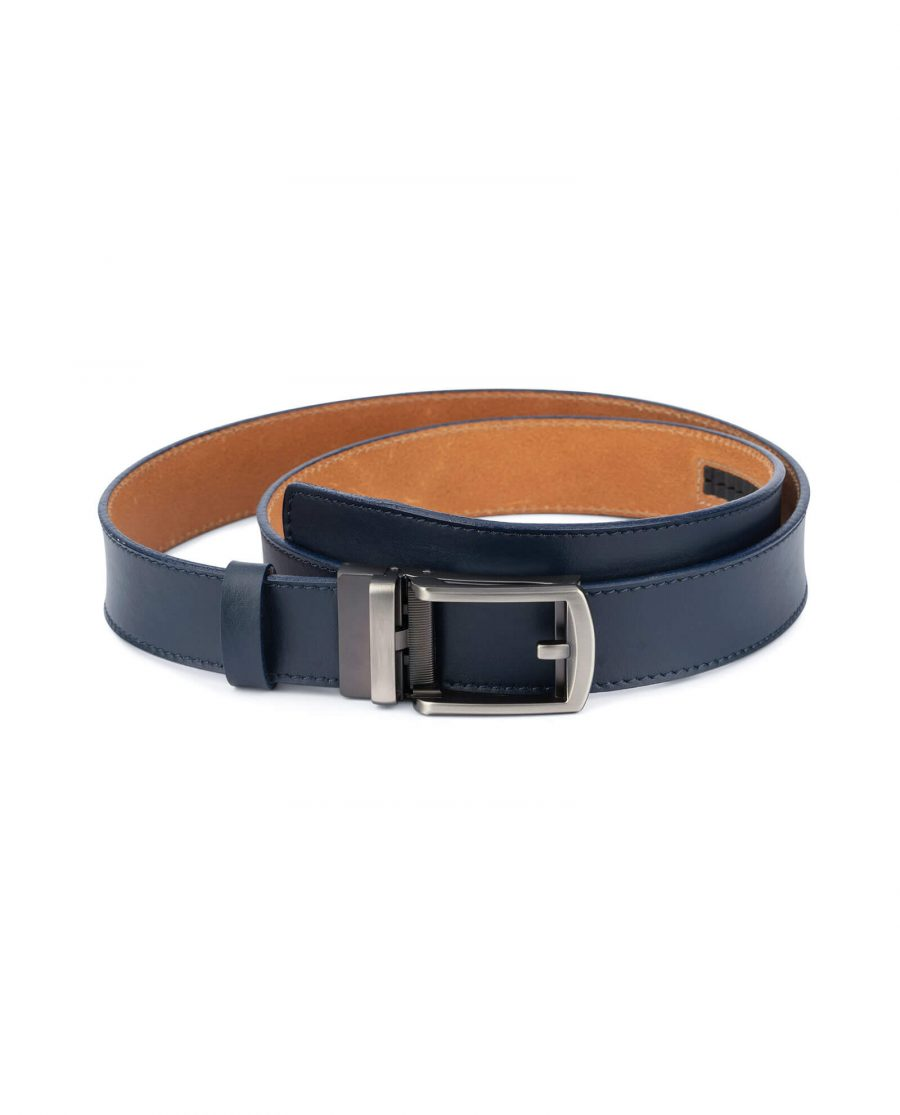 Navy blue mens click belt with classic buckle AUNV35GRCL 1