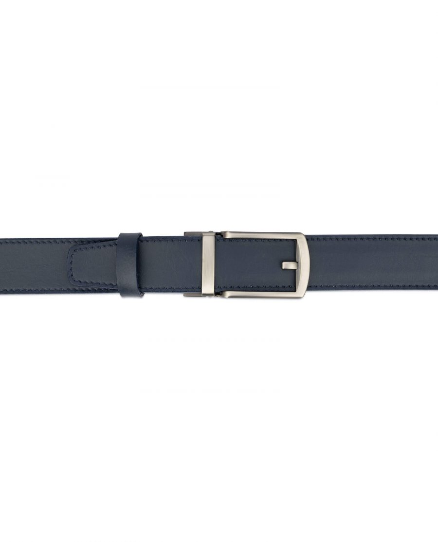 Navy blue mens click belt with classic buckle AUNV35GRCL 3