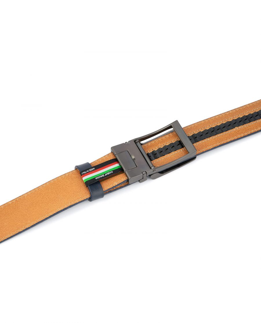 Navy blue mens click belt with classic buckle AUNV35GRCL 4