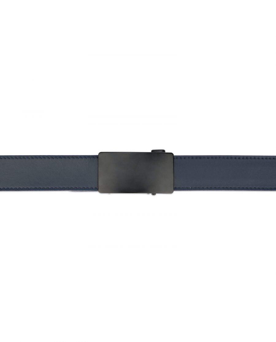 Navy blue mens slide belt with black buckle AUNV35BLPL 3