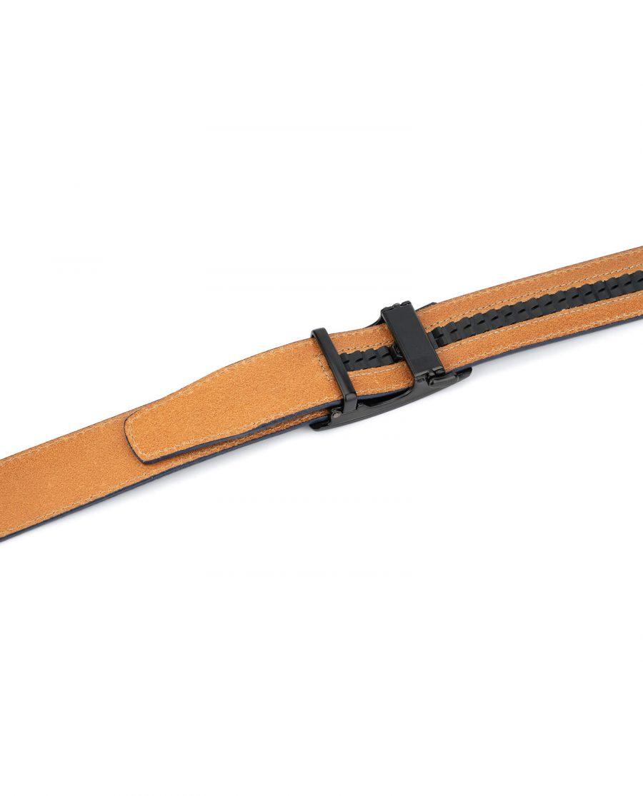 Navy blue mens slide belt with black buckle AUNV35BLPL 4