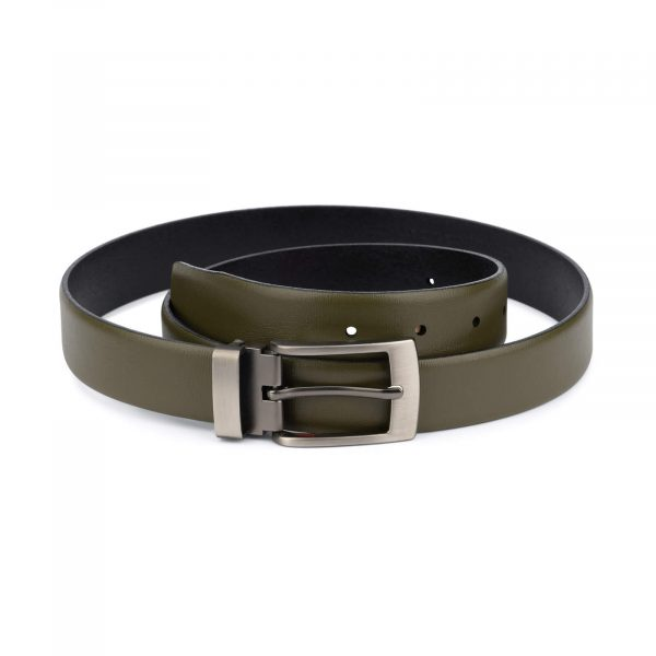 Olive green leather belt for men with gray buckle 1