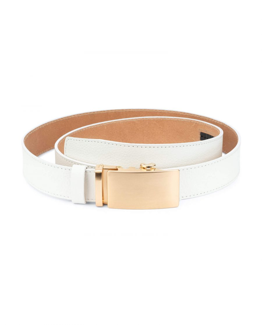 Ratchet Mens white belt gold buckle AUGD35WTCW 1