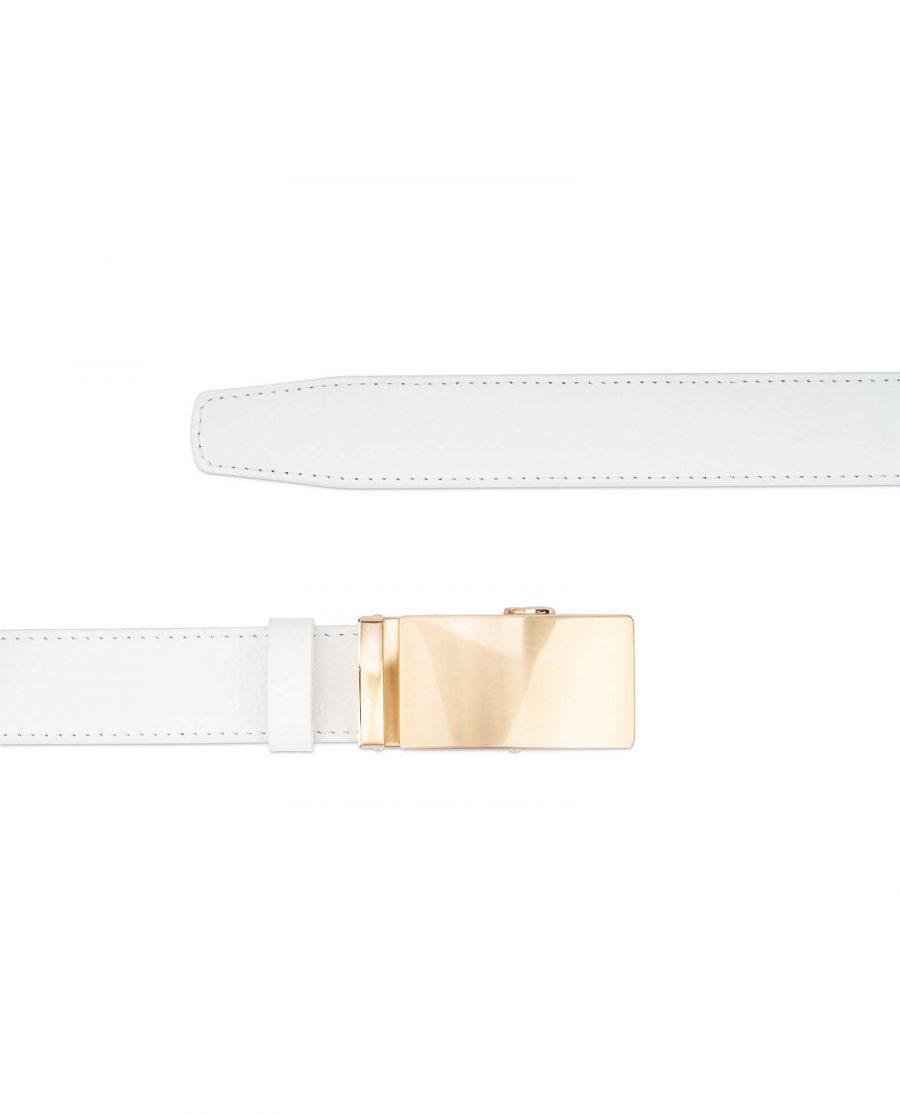 Ratchet Mens white belt gold buckle AUGD35WTCW 2