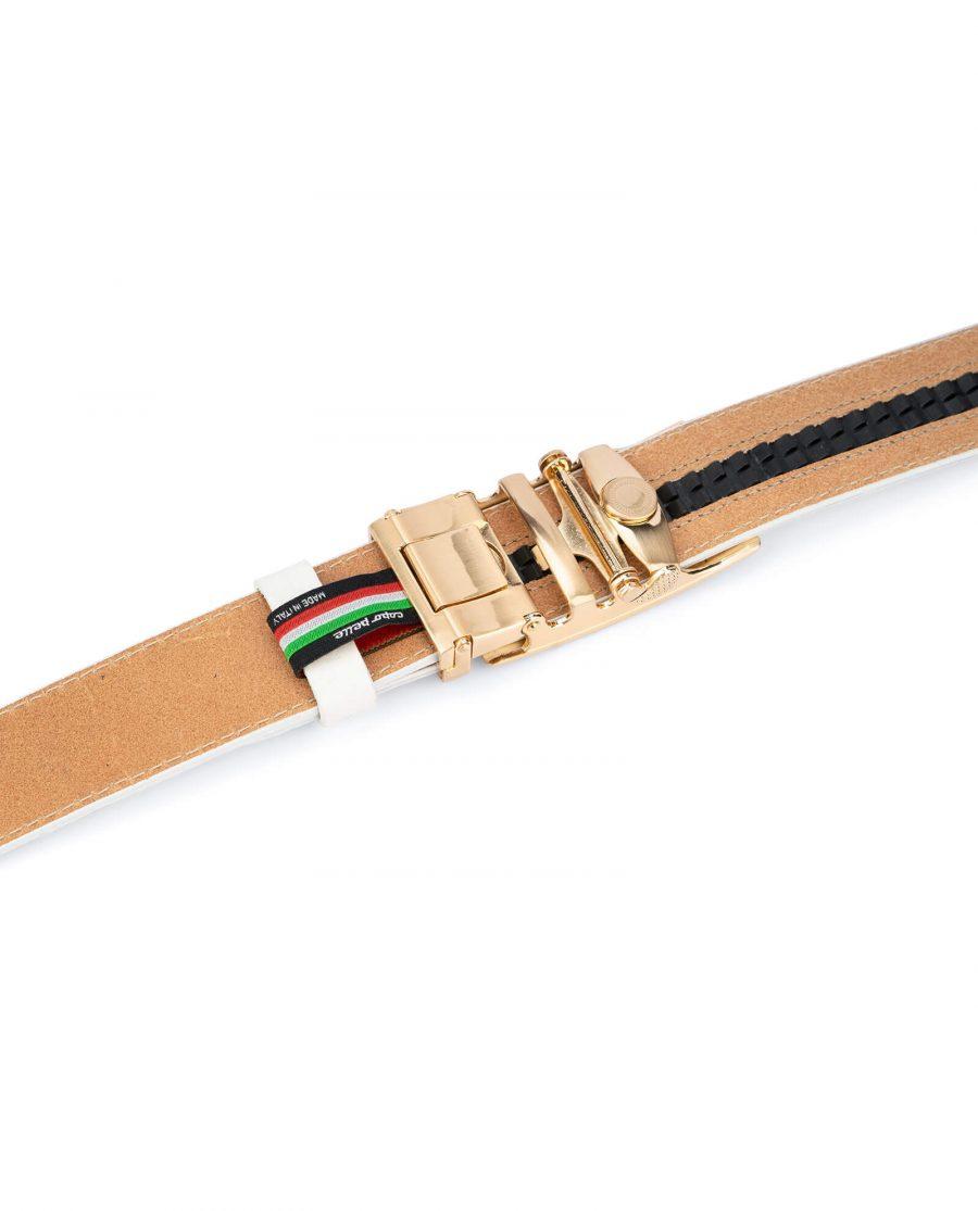 Ratchet Mens white belt gold buckle AUGD35WTCW 4