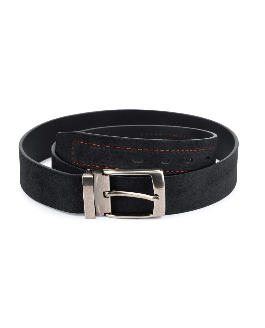 Suede black belt with red stripe – real leather 40 mm 1