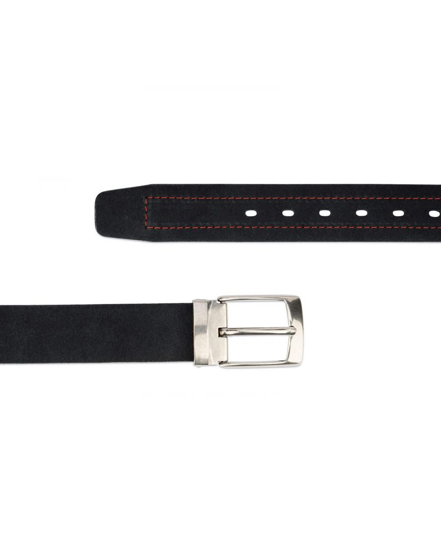 Suede black belt with red stripe – real leather 40 mm 2