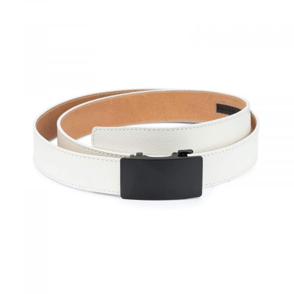 White comfort click belt with black buckle AUWH35BLPL 1