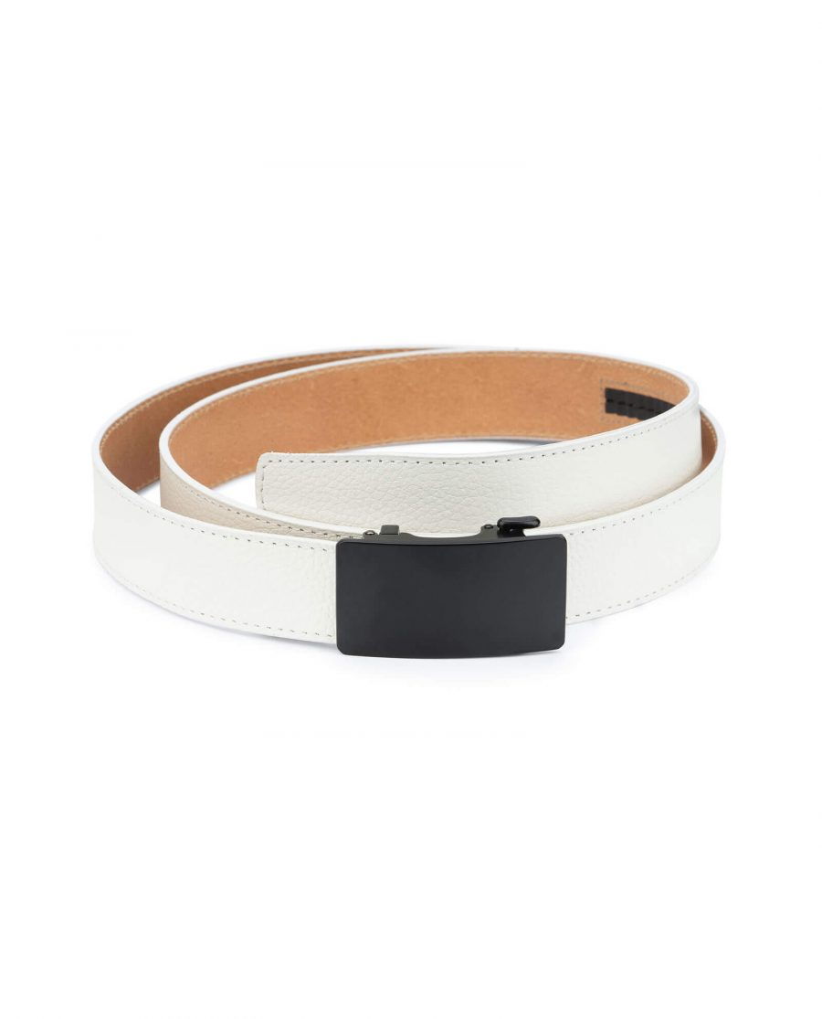 White comfort click belt with black buckle AUWH35BLPL 1